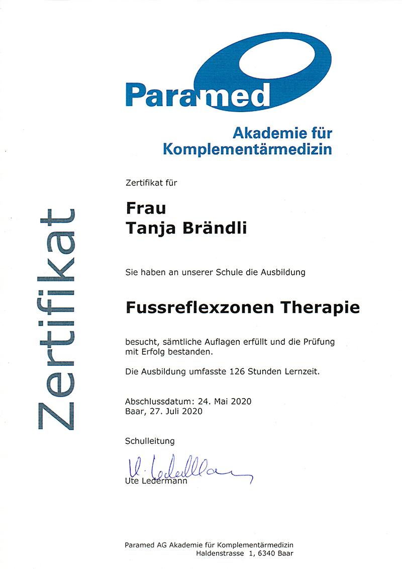 Zertifikat Fussreflexzonen Therapie