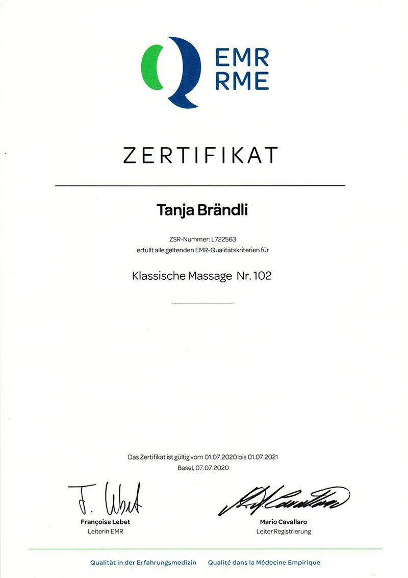 Zertifikat EMR Klassische Massage