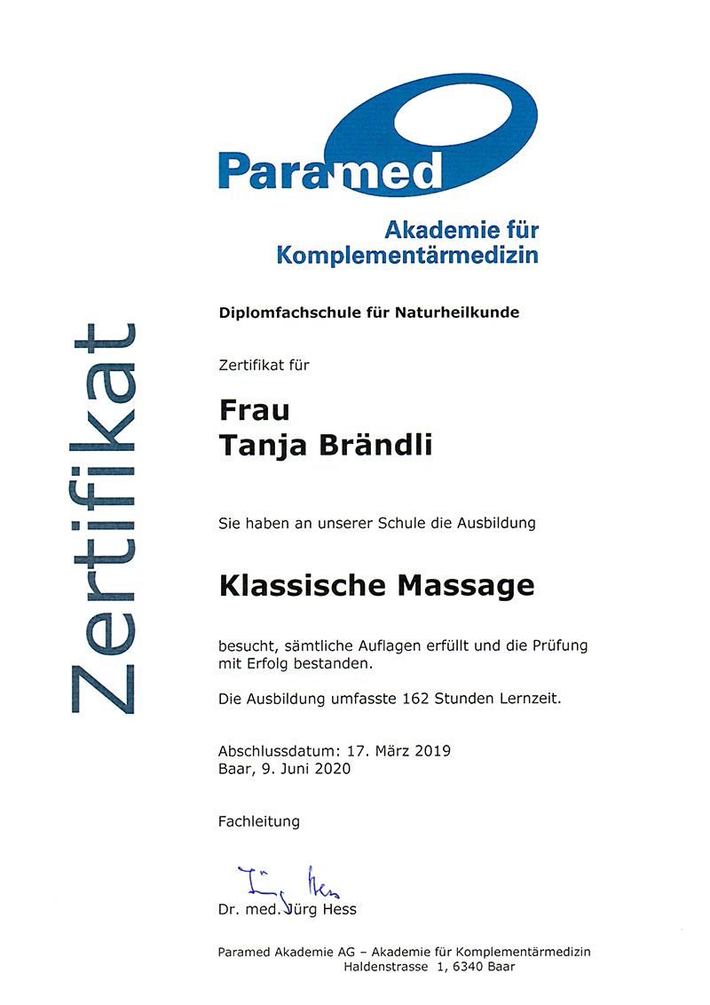 Zertifikat Klassische Massage