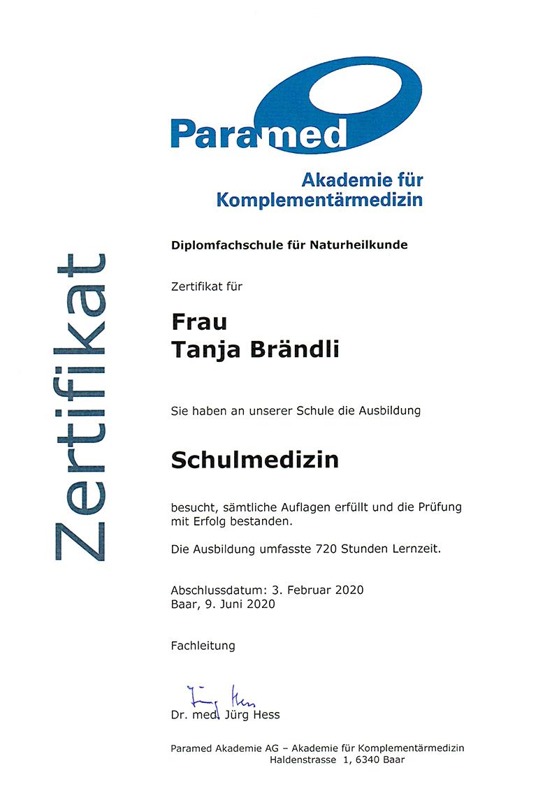 Zertifikat Schulmedizin